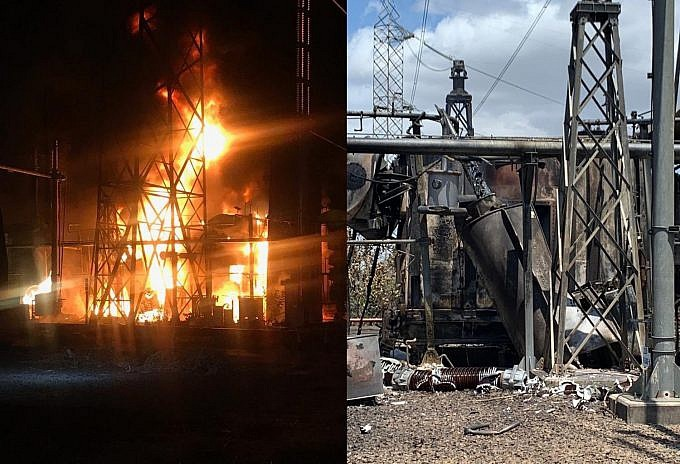 Three transformers in the Guri Dam switchyard were allegedly set on fire on Monday evening (@jorgerpsuv)
