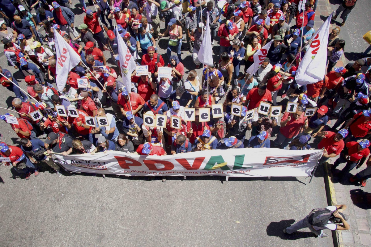 #HandsOffVenezuela march in Caracas on February 23. (V. Arun Kumar/ Peoples Dispatch)