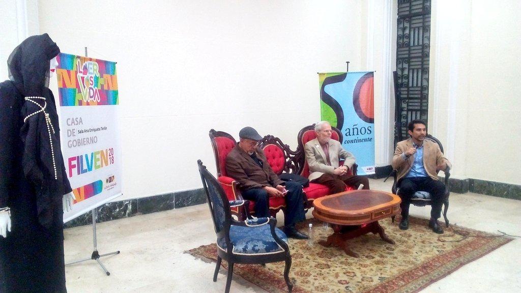 Respected Venezuelan revolutionary intellectual Luis Britto Garcia alongside Gabriel Jimenez Eman present books from the Monte Avila editorial house