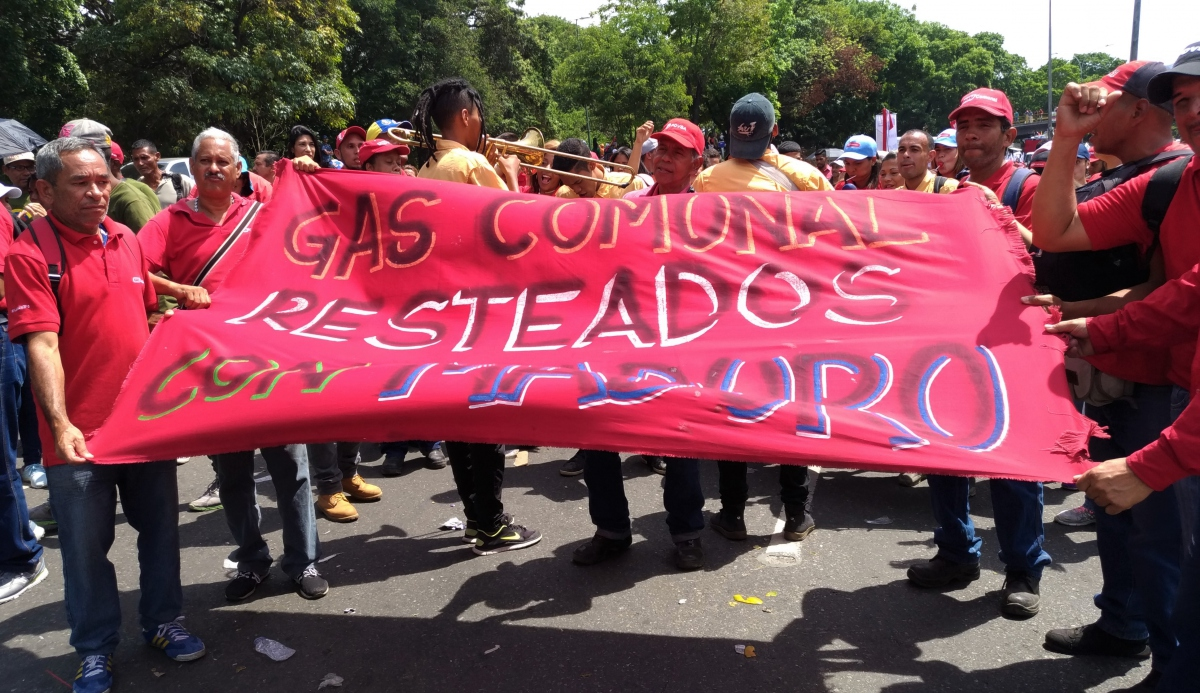 Workers from the gas branch of state run oil company PDVSA marched. (Katrina Kozarek)