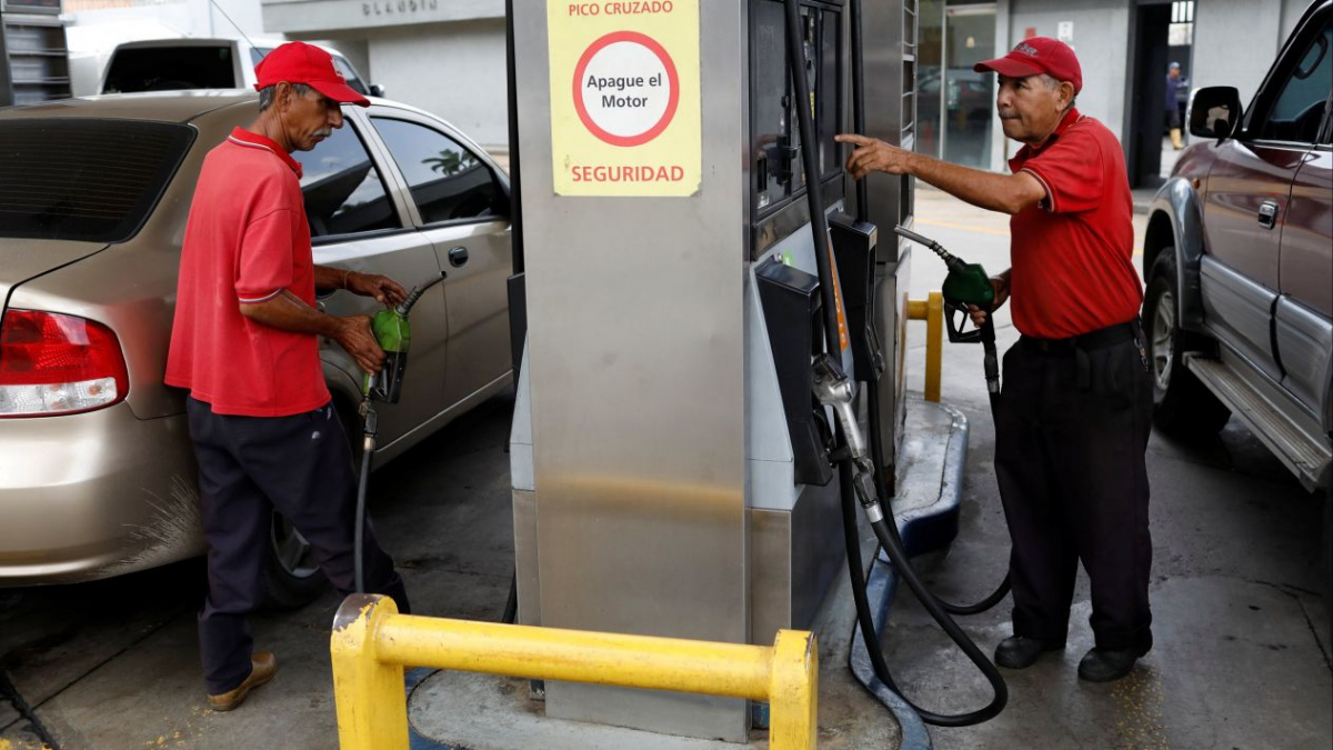 Cars queue up to fill up their tanks in Venezuela, where fuel was effectively free for a long time. (Reuters)