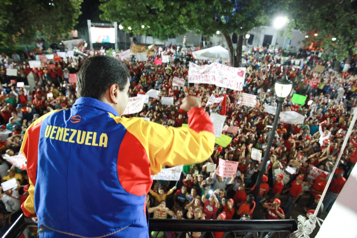 "Maduro during a ""street government"" session in Carabobo State, June 2013. (AVN)"