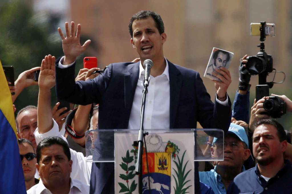 Juan Guaido declared himself president at the end of an opposition march in Caracas. (AP)