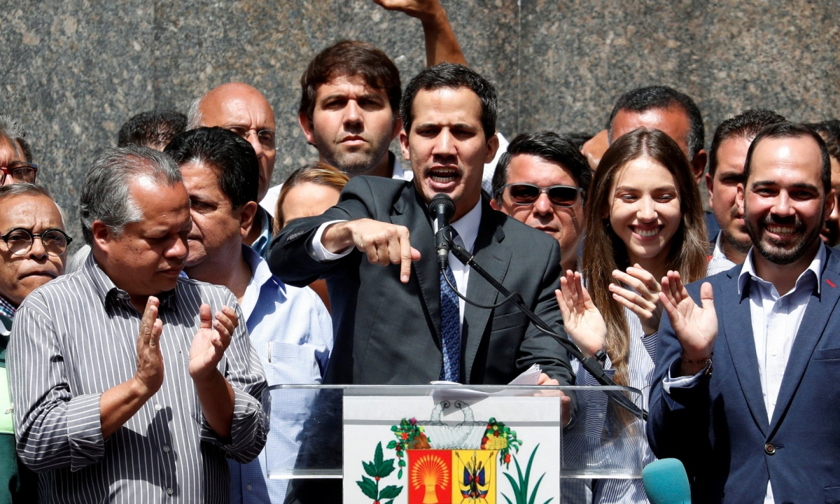 Juan Guaido addressed supporters and journalists in eastern Caracas on Friday (Carlos García Rawlins / Reuters)