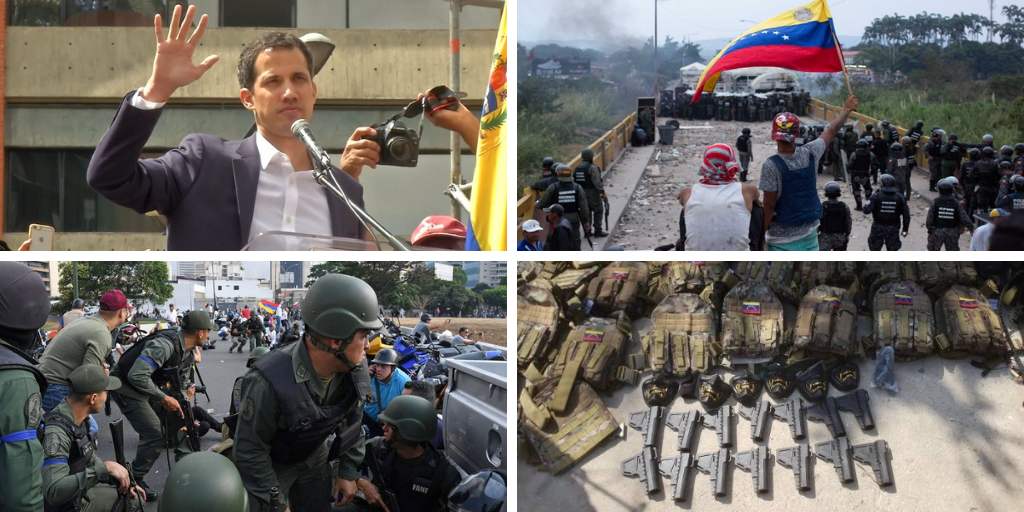 Upper left: Juan Guaidó self-proclamation on January 23, 2019. Upper right: Battle of the Bridges, Simón Bolívar bridge, in the Colombia-Venezuela frontier. Lower left: April 30, 2019, military insurrectional attempt led by Juan Guadó and Leopoldo López. Lower right: Gedeón Operation, May 2020. (Archive)
