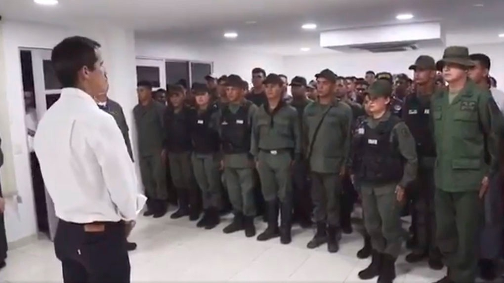 Guaido addressing military deserters in Cucuta, Colombia. (@jguaido)