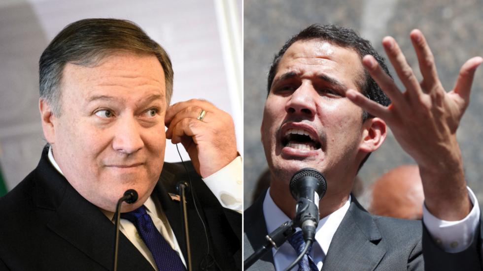 "US Secretary of State Mike Pompeo (L) and Venezuela's self-declared ""Interim President"" Juan Guaido. (Brendan Smialowski and Carlos Garcia Rawlins / Reuters)"