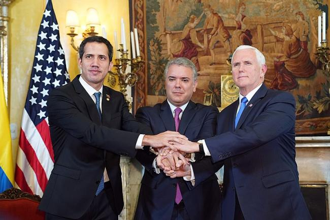 "Vice President Mike Pence, ""interim president"" Juan Guaidó, and President Iván Duque. (Wikimedia)"