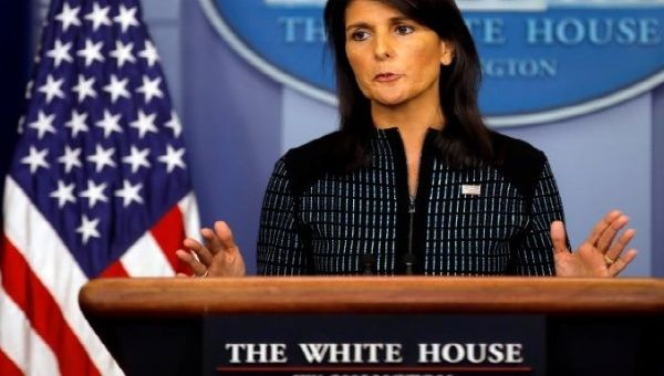 U.S. Ambassador to the U.N. Nikki Haley attends the daily briefing at the White House in Washington, U.S., September 15, 2017. (Reuters)