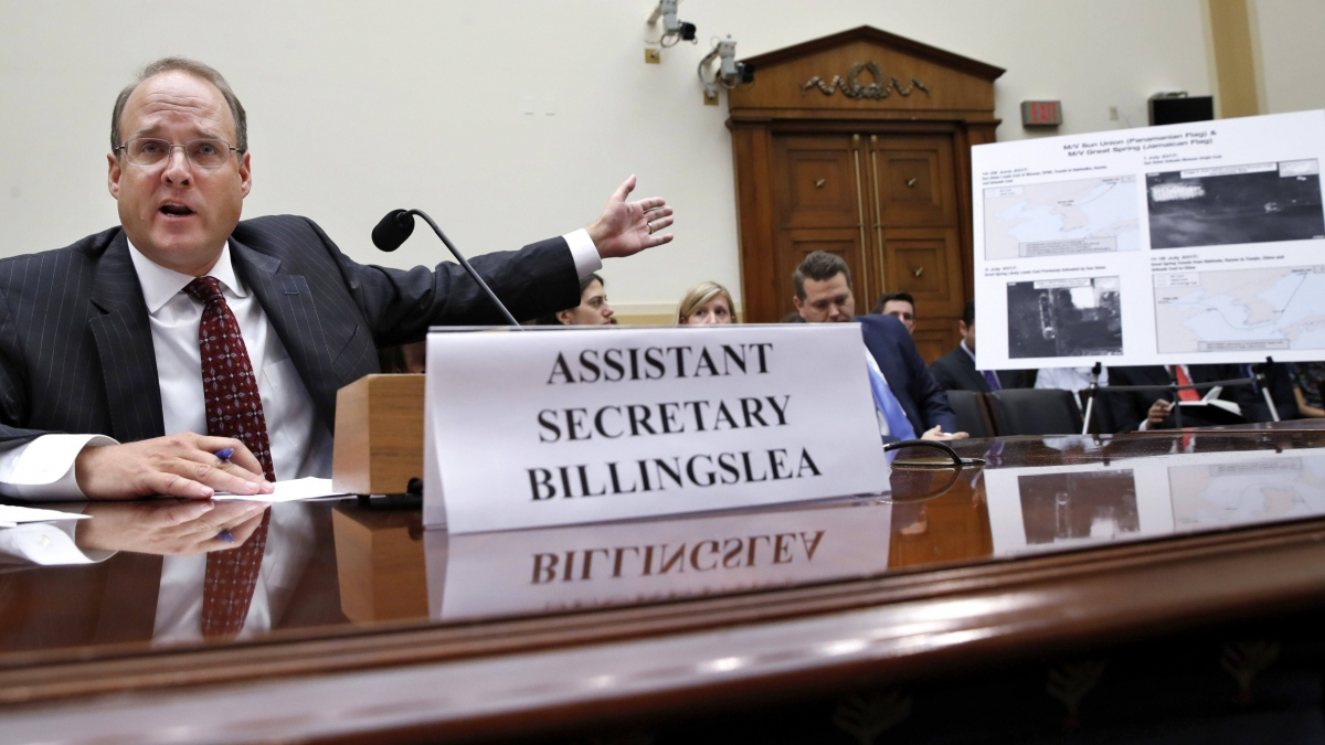 Marshall Billingslea, the U.S. Treasury Department's assistant secretary for terrorist financing, speaking at a House hearing Sept. 12 (AP)