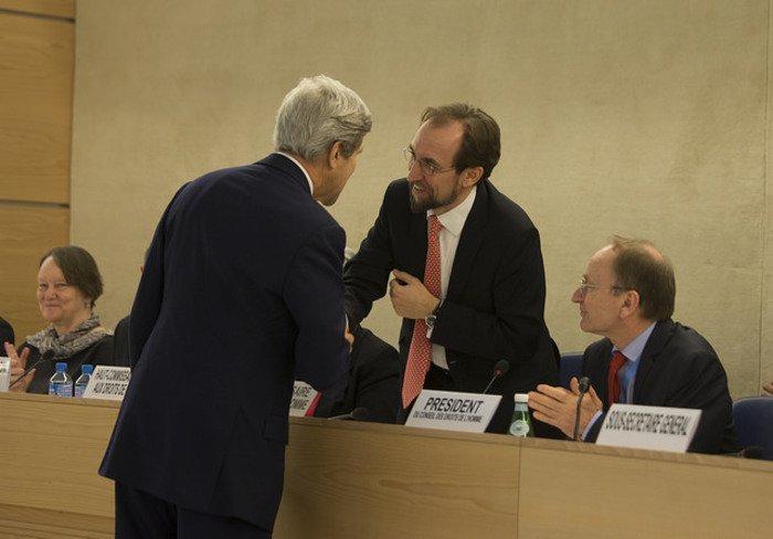 Zeid Ra'ad Al Hussein and John Kerry