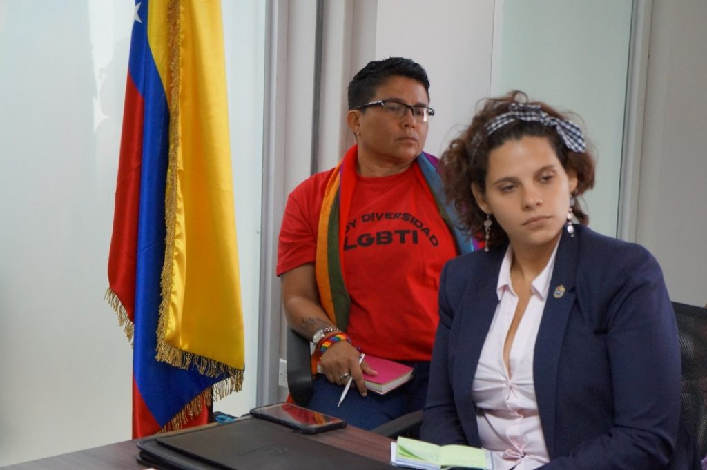 Ingrid Baron (in red), an activist of an LGBTIQ collective of Venezuela. (VTActual)