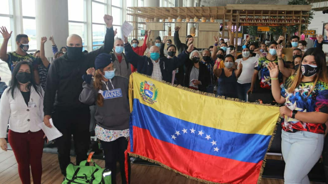 Ninety-seven Venezuelan migrants take advantage of the government's Return to the Homeland Plan in May 2021, here photographed in Guayaquil Airport in Ecuador. (Foreign Ministry)