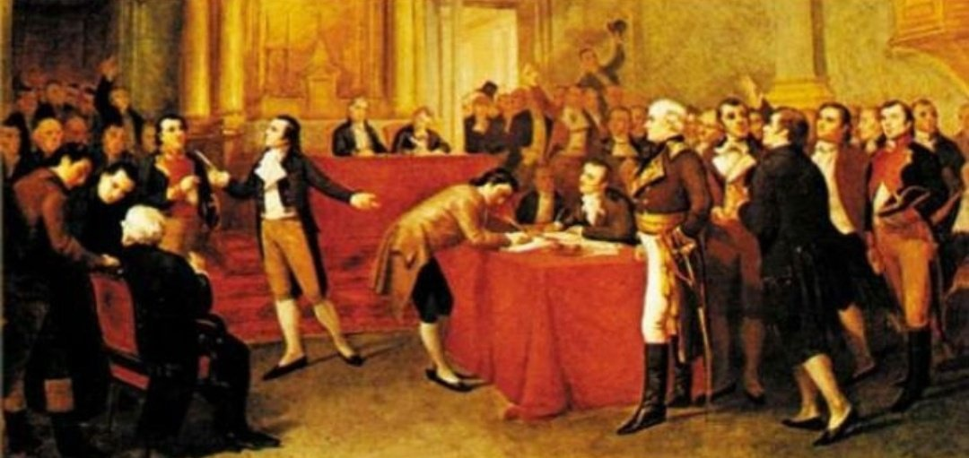 Representation of the signing of independence on July 5, 1811 by G. Profit. Oil on canvas by G. Profit. (Archive)