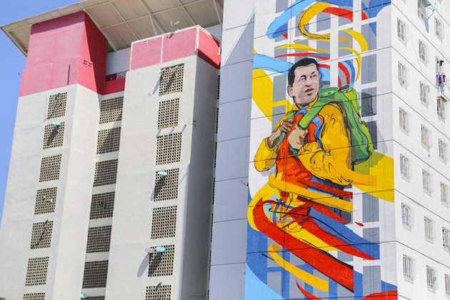 Graffiti collective Comando Creativo's Hugo Chavez mural in a new housing complex in Catia, Caracas. (Comando Creativo)