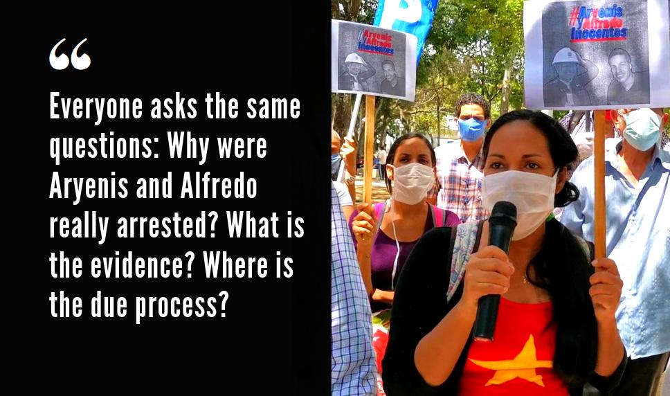 Iracara Chirinos in a demonstration demanding the liberation of Alfredo Chirinos and Aryenis Torrealba. (Thais Rodriguez)
