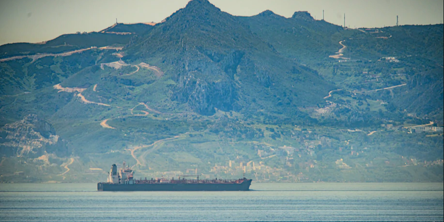 The Iranian oil tanker Clavel heads through the Strait of Gibraltar. (Marcos Moreno/AP)