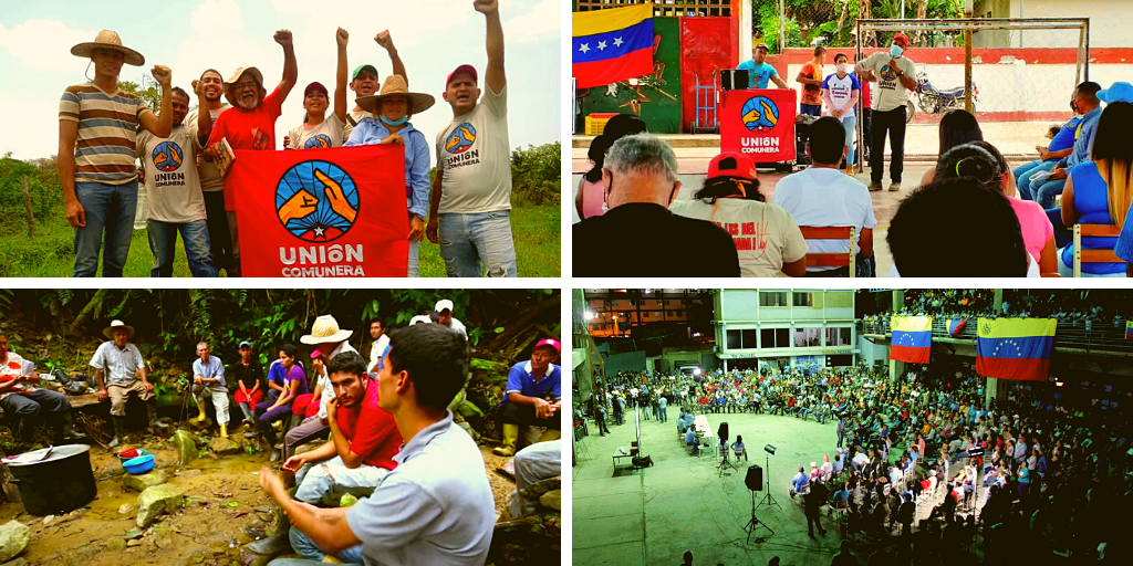 Upper left: Communard Union visit to a campesino homestead (@UnionComunera). Upper right: Communard Union meeting at El Maizal Commune, Lara (@UnionComunera). Lower left: an assembly at the Che Guevara Commune (Sinco). Lower right: a popular assembly at El Panal Commune in 23 de Enero, Caracas (Fuerza Patriótica Alexis Vive)