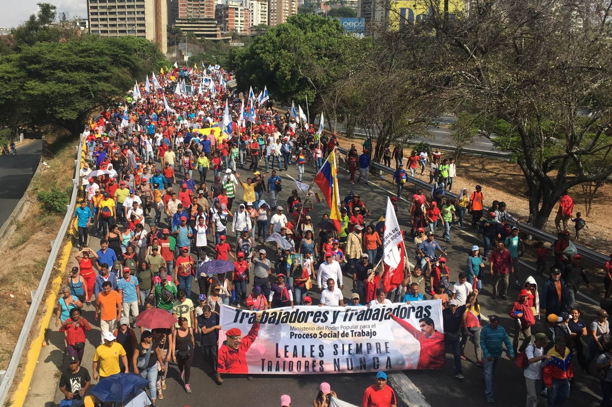 The main highways of Caracas were closed as people took to the streets to oppose the coup. (Javier Gomez)