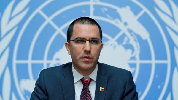 Venezuela's Foreign Minister Arreaza attends a news conference the Human Rights Council in Geneva, Switzerland. (Reuters)