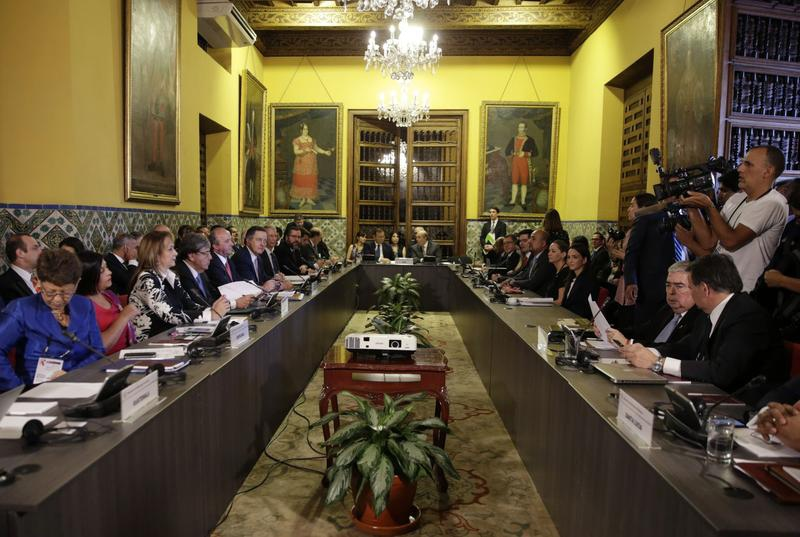 Meeting of Lima Group foreign ministers on January 4. (Martin Mejia / AP)