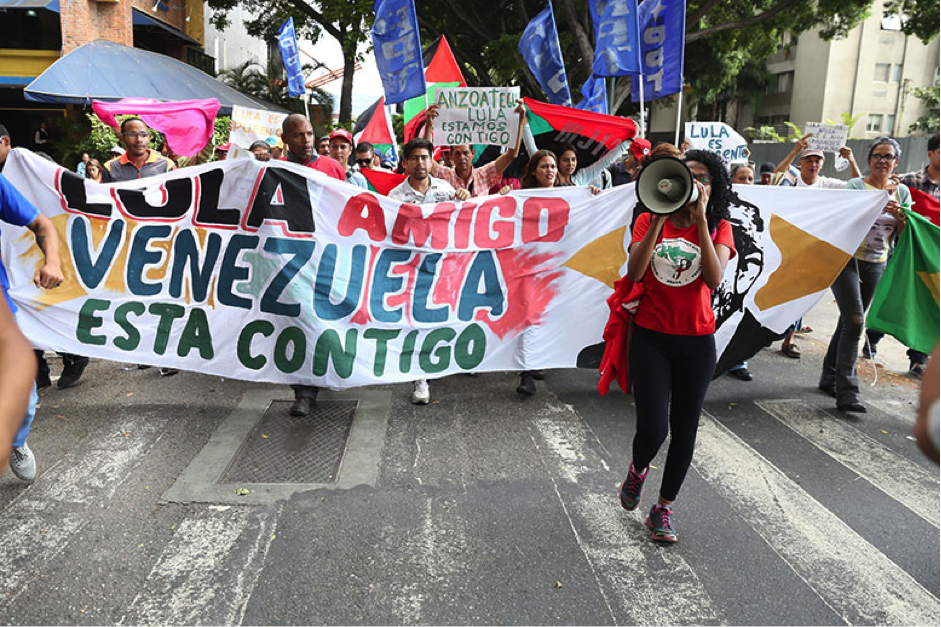 Venezuelan social movements marched through Caracas Friday in solidarity with Lula