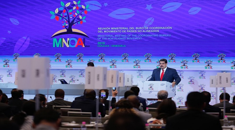 President Nicolas Maduro addresses the opening ceremony of the Non-Aligned Movement meeting in Caracas over the weekend. (Presidential Press)
