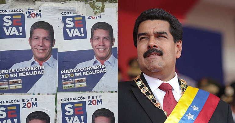 Falcon and Maduro squared off in the May 20 elections (Jamez42 and Hugoshi)