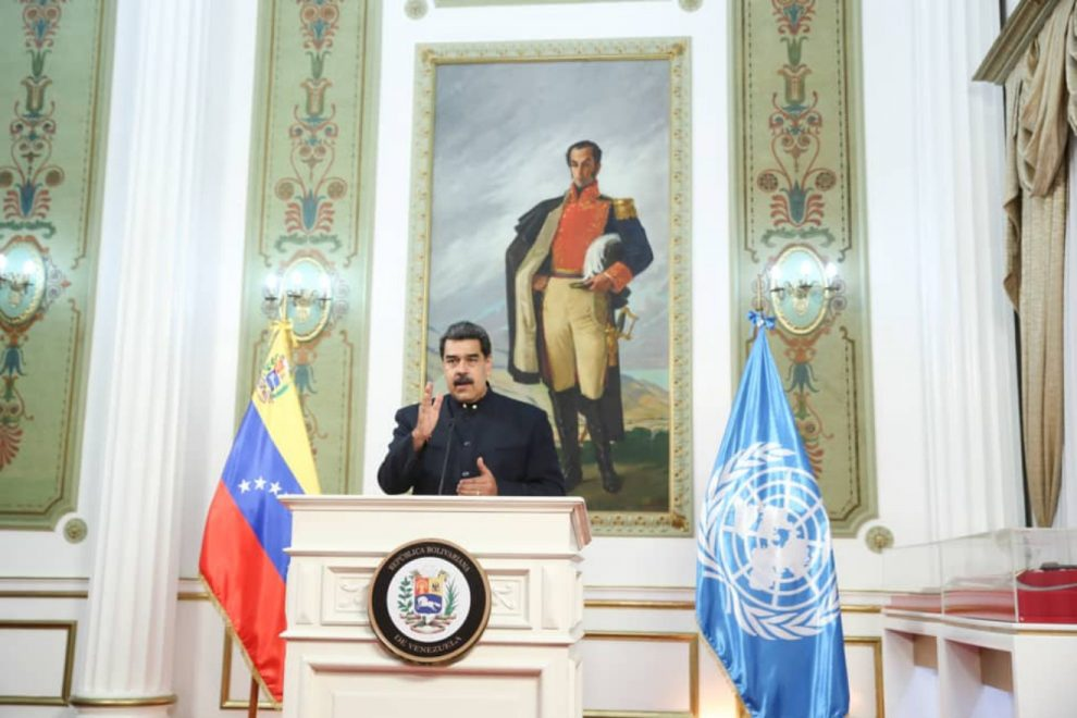 President Nicolas Maduro transmitted his message to the United Nations General Assembly through a videoconference from Miraflores Palace in Caracas