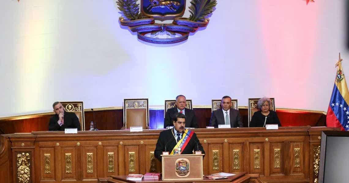 President Nicolas Maduro delivered his annual address before (left to right) Attorney General Tarek William Saab, ANC President Diosdado Cabello, Supreme Court President Maikel Moreno, and Electoral Council President Tibisay Lucena. (ANC)
