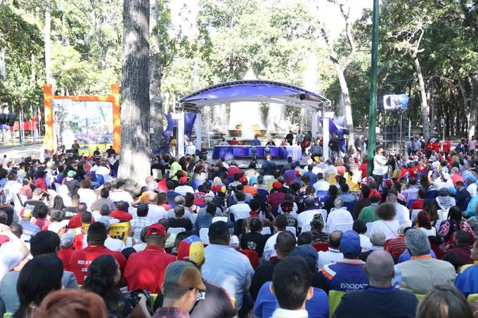 President Nicolas Maduro led the close of the encounter in the Los Caobos Park in central Caracas. (@NicolasMaduro / Twitter)