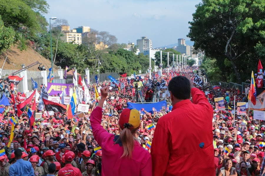 President Nicolás Maduro addressed hundreds of thousands of supporters on May 1, 2019, a day after Guaidó's attempted coup.