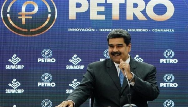 President Nicolas Maduro said the Petro is already present in the world's six topmost international exchange houses and will now be accepted at a national level. (VTV)