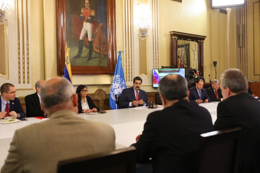 Venezuelan President Maduro met with the representatives of the United Nations agencies, in Caracas on Saturday. (@CancilleriaVE)