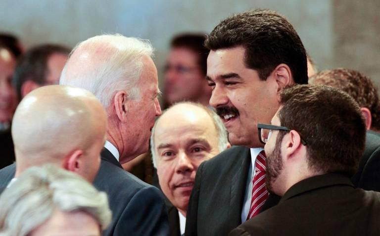 Venezuelan President Nicolas Maduro met then vice president and now President-elect Joe Biden in Brasilia in 2016. (Presidential Press)