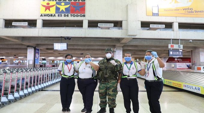 Caracas' Maiquetia airport was one of the first places on lockdown as flights with Europe, Colombia, Panama, the Dominican Republic and other destinations were stopped. (@VzlaCovid19 / Twitter)