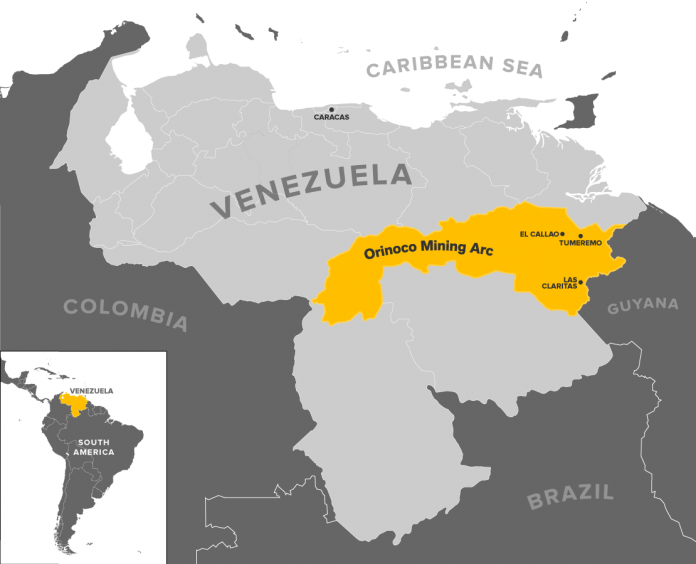 Map of the territory covered by the Orinoco Mining Belt. (Edin Pasovic/OCCRP)