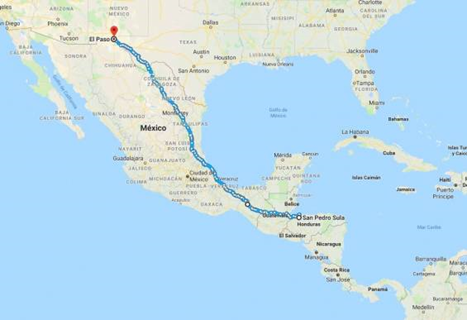 Path from San Pedro Sula, in Honduras, to the US-Mexican border. (Archive)