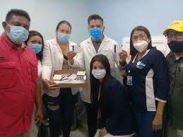 Doctors celebrate as the first vaccines arrive at Merida's IAHULA Hospital. (IAHULA)