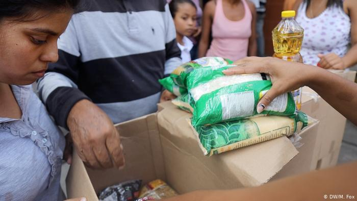 Food items being handed out to Venezuelans. (Michael Fox)