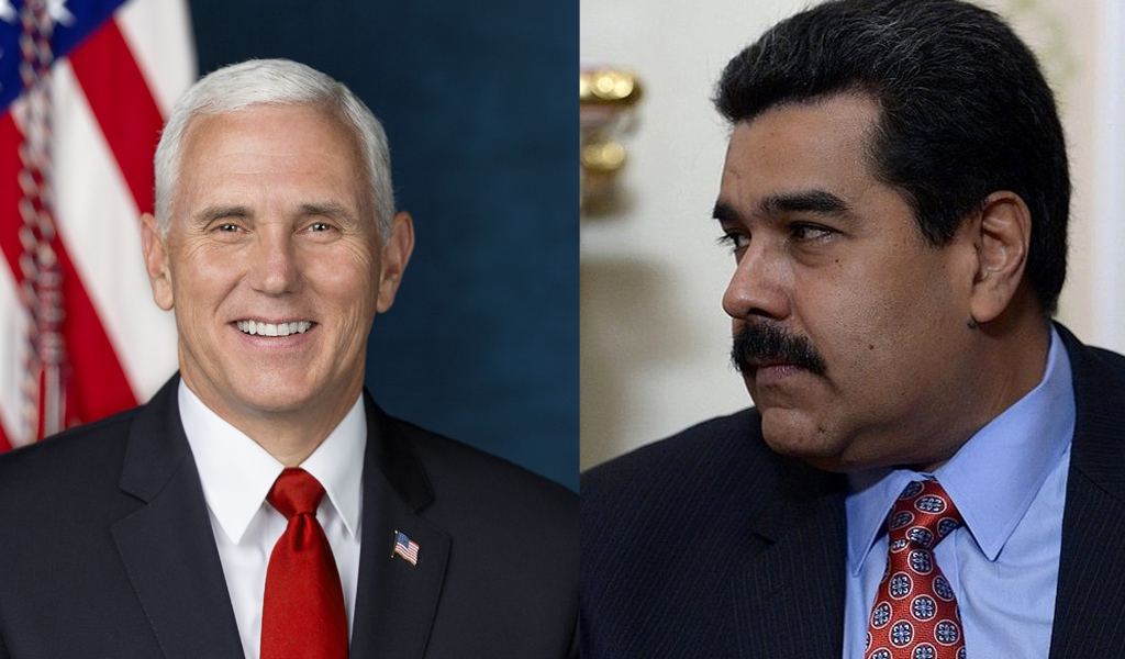 "US Vice President Mike Pence (L) claims that Venezuelan President Nicolas Maduro (R) is a ""dictator"" (Wikipedia)."