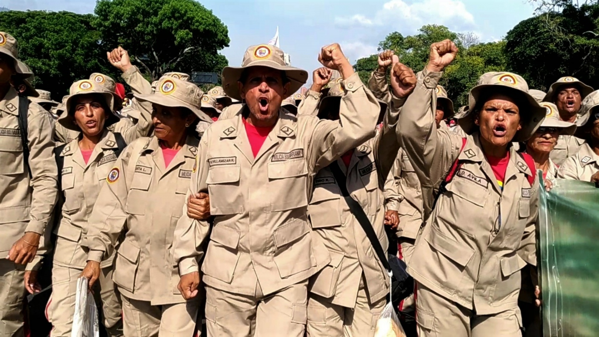 Members of the Bolivarian Militia were out in force too to oppose the US-inspired coup. (Katrina Kozarek)