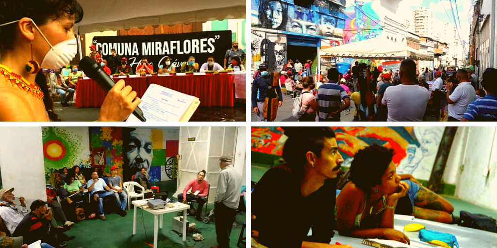 Above: Foundation of the Miraflores Commune. Below: Educational events organized by La Minka. (FB: @laminkaeps)