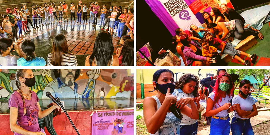 Upper and lower left and lower right: activities organized by Mujeres por la Vida on November 25, International Day for the Elimination of Violence Against Women. Upper right: 28th anniversary of Mujeres por la Vida. (Mujeres por la Vida)