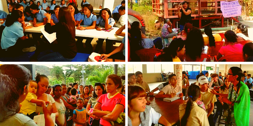 Upper left and lower right: sexual and reproductive rights workshops in Barquisimeto high schools. Upper right: a workshop for a life free of violence at the Cmte. Adrián Moncada Commune in Río Claro, Lara. Lower left: 105 women had IUDs placed in a one-day event at the Cmte. Adrián Moncada Commune in Río Claro, Lara. (Mujeres por la Vida)
