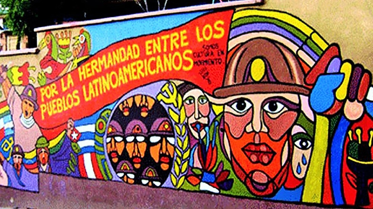 "In la Pastora, Caracas, a mural that reads ""For the sisterhood of Latin American peoples."" (Archive)"