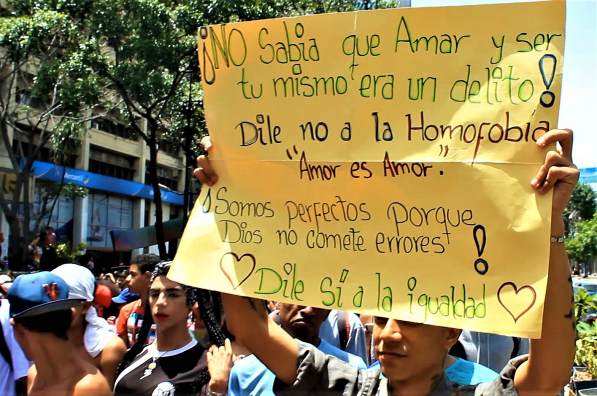 """I didn't know that loving and being yourself was a crime. Say no to homophobia!"""