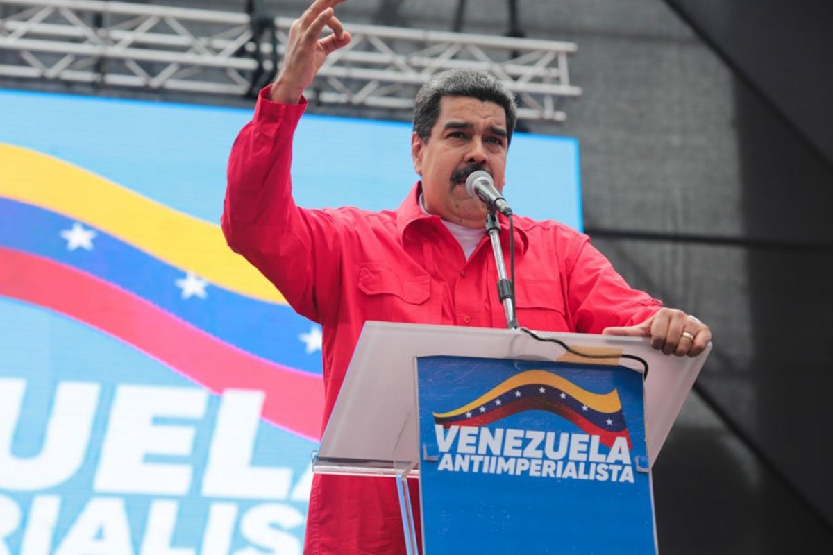 Incumbent Nicolas Maduro speaking at an anti-imperialist rally in Caracas. (@Mippcivzla / Twitter)