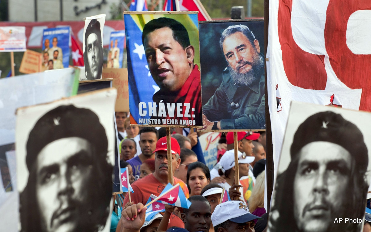 A Chavista march in Caracas. (AP)