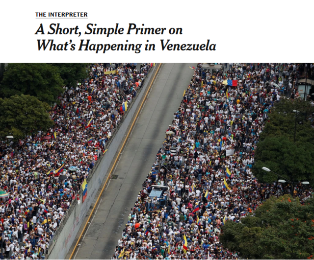 "The New York Times' ""short, simple primer"" (1/24/19) on ""how did things in Venezuela get so bad?"" never mentions the word ""sanctions."" (Screenshot)"